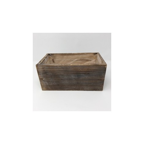 Maceta marrón en madera decapada